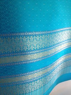 Thai silk Curtain Panel, Bright Sky Blue with Metallic bands at border