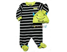 New to ChewOnThisOrThat on Etsy: My First Halloween Little Monster Sleep N' Play and Hat Set - Personalized with Baby Name Costume Outfit (15.00 USD)