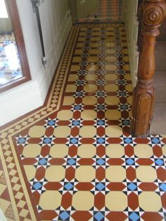 A new hall floor on a corner property. An Inverlochy pattern with a classic border in old london and red/blue/black/white