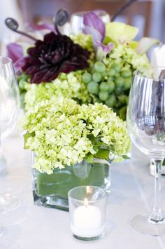 Hydrangeas, grapes, orchids.