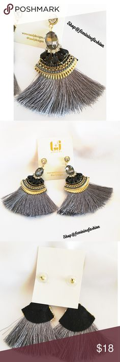 Gray Tassel Earrings Elegant Gray Tassel Earrings with black stones, glass crystals, and gold toned accents. 18k gold plated metals. Nicole free. Stunning Thank you for shopping @femininefashion T&J Designs Jewelry Earrings
