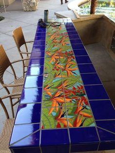 Custom Made Bird Of Paradise Tile Mural Mosaic Crafts, Mosaic Projects, Mosaic Art, Mosaic Glass, Mosaic Tiles, Mosaics, Tiling, Murs Roses, Tile Tables