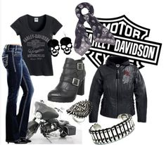 harley davidson polyvore set... I'd so wear this if I had a guy to ride with!