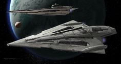 """starwars: """" Concept artist Ryan Church incorporated negative spaces into the First Order's Star Destroyers after being inspired by the Vengeance from Star Trek Into Darkness. """""""