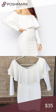 Off shoulder white long sleeve dress! Sexy white big ruffle off shoulder dress. Fully lined, semi thick stretchy material- 95% polyester. Perfect for bachelorette! Bought from ASOS- Oh My Love brand ASOS Dresses Long Sleeve