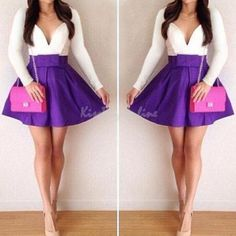 Sexy-Women-Long-Sleeve-Cocktail-Party-Evening-Short-Casual-Mini-Dress-Purple-New