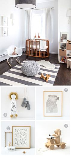 We love this adorable nursery, with its calming grey/white colour schemes and accents of natural wood. We think our prints and wooden toys would fit perfectly i