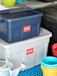 Closed Plastic Bins - We use these a lot for storage in the garage. Great for out of season clothes, just put them in vacuum bags.