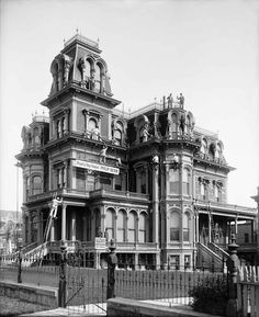 "Philip Dern Company painting the Gardo House, May 14, 1908. This mansion on the corner of South Temple and State Street was built in the 1870s as an official residence for LDS church president Brigham Young. Although Young died before the house was completed, the fact that his youngest wife, Amelia Folsom, was to live in it earned it the nickname ""the Amelia Palace."" When Shipler took this photograph, it was residence of ""Silver Queen"" Susannah Bransford Emery Holmes and her husband…"