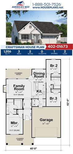 Fall in love with this Craftsman home design, Plan 402-01673 outlines 1,356 sq. ft., 3 bedrooms, 2 bathrooms, a kitchen island, an open floor plan, and a 2 car garage. #craftsman #architecture #houseplans #housedesign #homedesign #homedesigns #architecturalplans #newconstruction #floorplans #dreamhome #dreamhouseplans #abhouseplans #besthouseplans #newhome #newhouse #homesweethome #buildingahome #buildahome #residentialplans #residentialhome Craftsman Style Homes, Craftsman House Plans, Best House Plans, Dream House Plans, Private Garden, Garden Spaces, Architectural Elements, New Construction, Square Feet