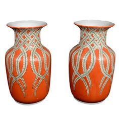 Japan  Early 20th century  Decorated Japanese porcelain vases with reed motif.