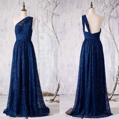 Elegant one shoulder navy blue lace long bridesmaid dress