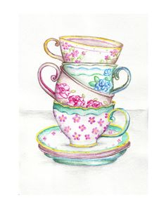 Tea Cup Art Kitchen Watercolor Painting Drawing Art Print