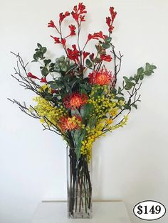Real Touch Australian Native Flowers Online that look and feel real. Set in vase with Artificial Water.
