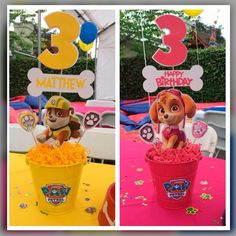 Paw patrol centerpieces Rubble and Skye Paw Patrol Pinata, Sky Paw Patrol, Rubble Paw Patrol, Paw Patrol Party, Paw Patrol Birthday, 4th Birthday Parties, Birthday Celebration, 3rd Birthday, Mickey Party
