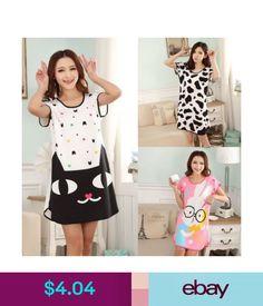 aacb7cd1fe Women Girl Summer Short Sleeve Long Loose Sleepwear Soft Nightdress  Nightgown in Clothing
