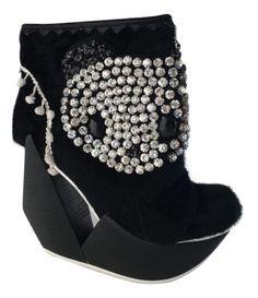 NEW-Women-039-s-Ankle-Boot-Wedge-Cutout-Irregular-Choice-Panda-Crystals-Black-6-US
