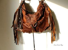 Tribal leather raw edges gypset dark brown distressed hobo bohemian fringed bag fringe raw tote brown rusted hobo tribal from SweetSmokebags on Etsy.