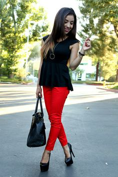 Black Peplum Top + House of Harlow Necklace + Red Skinny Jeans + Red Pumps + Black Faux-Croc Bag