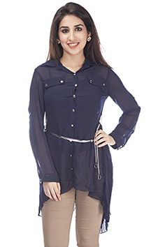 Deal Jeans Blue Solid Top for Women - 10819CP-3-XXL
