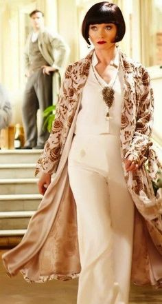Miss Fisher's Murder Mysteries.  Gorgeous outfit.  (Jasmine blouse, wide leg trousers)