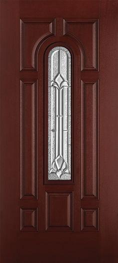 Masonite - Belleville textured mahogany fiberglass door - Marquise™ glass insert.