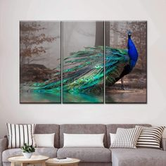 Elegant Peacock Multi Panel Canvas Wall Art by ElephantStock is printed using High-Quality materials for an elegant finish. We are the specialists in Modern Décor canvas prints and we offer 30 day Money Back Guarantee Peacock Canvas, Peacock Wall Art, Peacock Painting, Print Artist, Artist Canvas, Artist Painting, Peacock Pillow, Create Canvas, Blues Artists