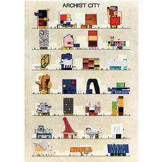 """Checkout 'Archist City' on eksturstore.com! Artist: Federico Babina The thin line between culture and design is easy to recognize in his works. """"I've always been fascinated by the relationship between architecture and cinema"""", he says. For Ekstur, we have tried to select a cross-section from some of his work: Archiset, Archiwindow, Archist and Archicine."""