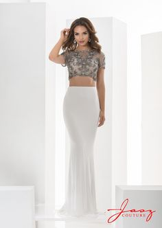 Jasz Couture 5603 White Grey Evening Dress Long 98aba3c6cfd7