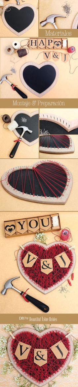 Corazón de hilo y madera DIY sencillísimo que podréis hacer para decorar vuestro San Valentín o vuestra boda. Luego os podrá servir como porta-notas.