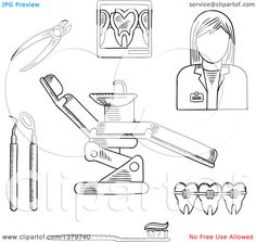 Clipart of a Black and White Sketched Dentist and Accessories - Royalty Free Vector Illustration by Seamartini Graphics Free Vector Illustration, Illustration Art, Dentist Cake, Clip Art Pictures, Free Cartoons, Cartoon Styles, Vector Free, Royalty, Fine Art Prints