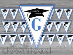 blue congrats  graduate printable party banner / by ArigigiPixel, $7.00