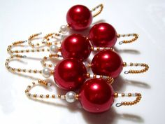Beaded Ornament Hangers with Large Red Pearlized Bead and Mother of Pearl Seed Beads - 6 Fully Beaded Ornament Hooks in Red, Gold and Cream