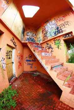 Stairway, abandoned UFO house, Homestead, FL