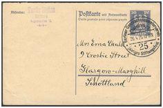 Germany, German Empire, Deutsches Reich 1924, 20 Pfg.-GA-Doppelkarte, mit Sonderstempel des Berliner Ganzsachenvereins, nach Glasgow-Marghill/Schottland, von dort nach Sachsen zurückgeleitet (Mi.-Nr.P 159). Price Estimate (8/2016): 30 EUR. Unsold.