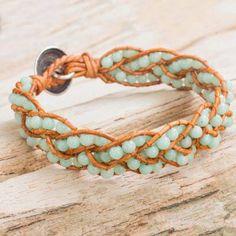 Aqua Dolomite Beaded Leather Bracelet from Thailand - Spring Hydrangea Hemp Jewelry, Hemp Bracelets, Gemstone Bracelets, Leather Jewelry, Fashion Bracelets, Jewelry Gifts, Beaded Jewelry, Hemp Bracelet Patterns, Summer Bracelets