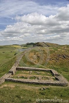 A view along Hadrian's wall near Steel Rigg. Milecastle 39 in the foreground - Northumberland, England