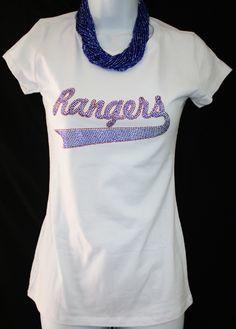 Blue and Red Crystallized Rangers on White Short Sleeve Tee  $19.95  http://www.giddyupglamouronline.com/catalog.php?item=5069#