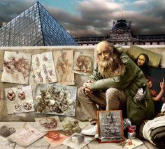 Leonardo da Vinci, vintage genius_retro genius / visual metaphors