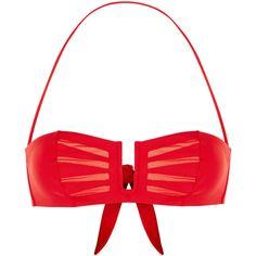 La Perla Dunes Bandeau Bikini Top ($195) ❤ liked on Polyvore featuring swimwear, bikinis, bikini tops, red, red bikini tops, bandeau top, red bikini, sheer swimwear and bandeau bikini top