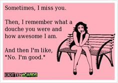 Sometimes, I miss you. Then, I remember what a douche you were and how awesome I am. And then Im like, No. Im good.