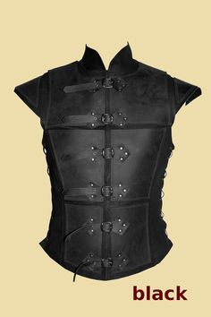 €220,- Black or brouwn Reinforced jerkin for men made of leather van Larperlei op Etsy