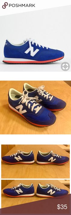 New Balance for J.Crew 620 Sneakers New Balance for J.Crew 620 Sneakers in Blue/Persimmon/White, size 7.5 - in awesome condition!!!  Rich blue color.  Most noticeable signs of wear are circled in my pics.  Otherwise in excellent condition! Also the logos on the insoles of the shoes are faded/yellowed a bit.  Suede/mesh upper. New Balance Shoes Sneakers