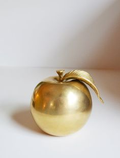 Vintage Brass Apple Brass Fruit Apple Paperweight by JudysJunktion