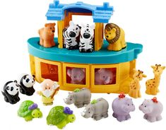 Fisher-Price Little People Noah's Ark Gift Set. Toddlers can role play the classic story as they pretend to be different animals, or even Noah himself!. Ark door opens so animals can climb aboard!. The ark's deck can be removed for play inside, and easily pops back on to store everything inside. Includes 17 little people figures Noah, and two elephants, lions, zebras, Giraffes, Turtles, pandas, Hippos and Leopards. Little people figures are kid-sized - perfect for kid-sized hands!.