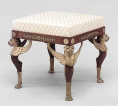 6 French Empire style (19th Cent.) mahogany square benches with bronze trim and winged sphinx legs (PRICED EACH) Price $7,600.00