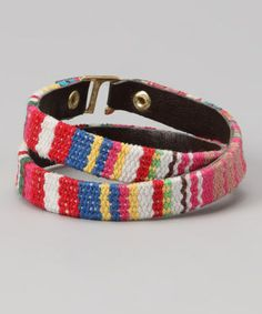 Take a look at this Pink Baja Stripe Wrap Bracelet by ZAD on #zulily today!