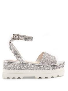 Bi-colour glitter flatform sandals | Miu Miu | MATCHESFASHION.COM