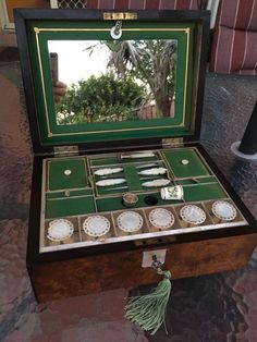 I'm mesmerized right now! ANTIQUE Walnut SEWING BOX / Mother of Pearl Reels, TOOLS, Silver THIMBLE, Key | eBay