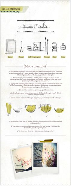 to make decorative bowls/vases made with papier-mâché and patterned Japanese paper (in French) Paper Mache Bowls, Paper Mache Crafts, Fabric Crafts, Cardboard Paper, Diy Paper, Paperclay, Japanese Paper, Diy Arts And Crafts, Craft Tutorials